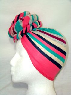 Beautiful Stripes Multicolot Soft Jersey Knit Stretch Headpiece Headwrap  #protectivestyle #headwrap #bun #wrap #summer #pink #nautical #stripes #lines #summer #spring