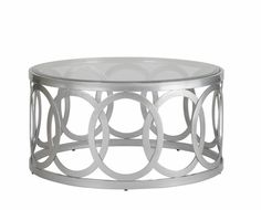 Alchemy Round Cocktail Table with Glass Top on Mirror Powder Coated Base by Allan Copley Designs | 20603-01R