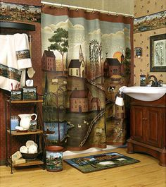 40 Cozy Primitive Bathrooms Design Ideas For Your New House - DIY Badezimmer Dekor Primitive Shower Curtains, Primitive Bathroom Decor, Bathroom Decor Sets, Bathroom Design Small, Bathroom Ideas, Bathroom Photos, Primitive Country Bathrooms, Cozy Bathroom, Bathroom Makeovers
