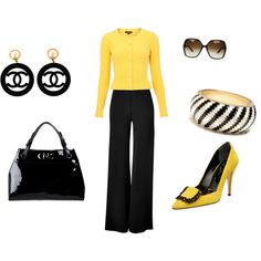 yellow and black, created by pamela-barrett-williamson.polyvore.com