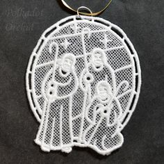 Three Shepherds Christmas Ornament using White Lace - product image