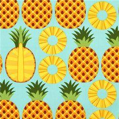 aqua pineapple fruit fabric Timeless Treasures from the USA 1 Pineapple Pattern, Fruit Pattern, Pattern Art, Pattern Design, Pineapple Design, Illustration Arte, Pattern Illustration, Illustrations, Pineapple Illustration
