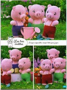 Evlynpartage: Les 3 petits cochon tuto crochet