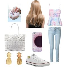 Untitled #8 by millie-huerta on Polyvore featuring polyvore fashion style Frame Denim Converse DKNY Vinca Casetify