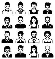 Men and Women black & white vector icon set vector art illustration