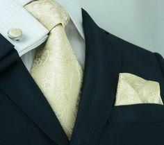 Cream and Beige Paisley Wedding Tie Set JPM18403