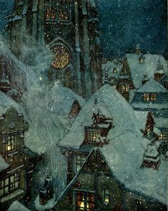 """Edmund Dulac, The Snow Queen Flies Through the Winter's Night.  Illustration for """"The Snow Queen: in Seven Stories,""""   Stories from Hans Christian Andersen, 1911"""