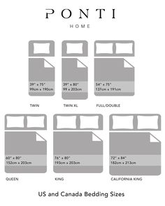 We always get asked about the different sizes we offer so we have created this chart to help understand the various bed sizes used in North America Bed Duvet Covers, Duvet Cover Sets, Bath Table, Egyptian Cotton Bedding, Luxury Bedding Sets, Bath Linens, Bed Sizes, California King, Table Linens