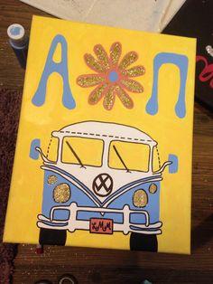 AOII Painted Canvas, Big-Little, hippie, Volkswagen