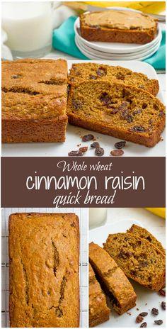 Easy whole wheat cinnamon raisin bread requires no yeast, no kneading, no bread…