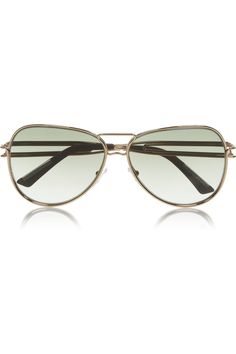 Gold-plated nickel Graduated gray-green lenses, wood-tipped arms UV protection Come in a designer-stamped black hard case Top Designer Brands, Designer Shoes, Round Sunglasses, Mirrored Sunglasses, Net A Porter, Roland Mouret, New Kids, Eyewear