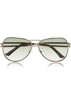 Roland Mouret | Aviator-style gold-plated sunglasses | NET-A-PORTER.COM
