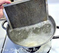 How to clean your stove's exhaust fan filter.  Truly disgusting to see all the grease come off it!!!  But works wonderfully well!!! - Click image to find more DIY & Crafts Pinterest pins
