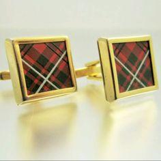 Red Plaid Vintage Cufflinks Tartan Cuff Links by LadyandLibrarian