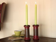 Vintage Bobbin Candle Holder (a pair) https://www.scaramangashop.co.uk/item/1450/124/Gifts-For-The-Home/Vintage-Bobbin-Candle-Holder-a-pair.html