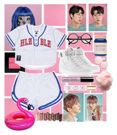 """""""pinkish #exo"""" by yourfavmochi ❤ liked on Polyvore featuring Casadeco, Empire Art Direct, Bobbi Brown Cosmetics, Dukes, Moschino, Retrò, Lime Crime, BigMouth, Tory Burch and Urban Decay"""