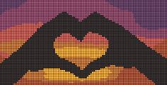 sunset friendship bracelet pattern number - For more patterns and tutorials visit our web or the app!Romantic sunset friendship bracelet pattern number - For more patterns and tutorials visit our web or the app! Friendship Bracelet Patterns, Friendship Bracelets, Pixel Art Grid, Wedding Cross Stitch Patterns, Pix Art, Pixel Art Templates, Motifs Perler, Minecraft Pixel Art, Cross Stitch Heart