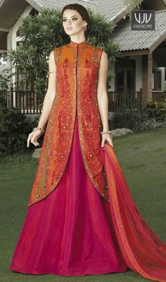 Sensible Magenta And Orange Color Silk Designer Lehenga Choli Genuine attractiveness will come out of your dressing trend with this magenta and orange color silk designer lehenga choli. This charming attire is showing some fantastic embroidery done with embroidered and patch border work.