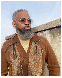 Grey Fashion, Men's Fashion, Black Men Beards, Like Fine Wine, Most Handsome Men, Black Man, Aging Gracefully, Style And Grace, Man Style