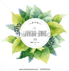 Round watercolor template with green leaves and circular place for text. Vector illustration - stock vector