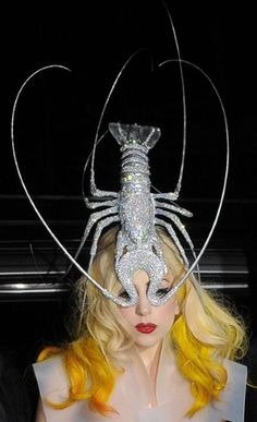 lady gaga. with a silver lobster on her head. whatevs.