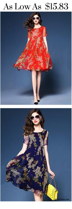 Charming boho loose chiffon dress in red and blue colours at just $15.83. Click on the picture to shop.