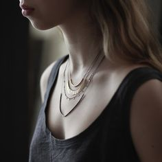 """WHITE bIRD Jewellery - The Blog: """"Merveille: Sia Taylor"""" Sia Taylor 'Grasses & Seeds' necklace/necklaces in yellow gold, white gold and oxidized silver. Available @ WHITE bIRD Jewellery."""