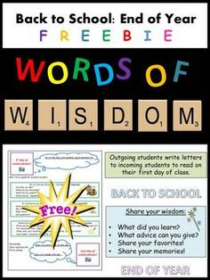 Words of Wisdom: Back to School/End of Year Writing Activity (FREE) (Grades 5-12)
