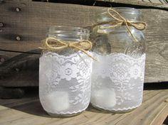 Mason Jar Lace Candle Holder  Vase  Wedding by loveinamasonjar, $12.00