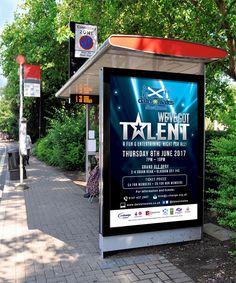 WE'VE GOT TALENT – Large printout poster for marketing dates-n-mates Scotland's We've Got Talent Show. #graphicdesign #marketing #advertising #branding #poster #printout #print #busstop #busshelter