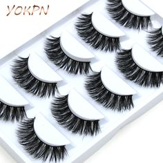 1 box 5 pairs Handmade Cotton Stalk Water Mink False Eyelashes Cross Messy Dense Natural Eye Lashes Stage Makeup False Eyelashes