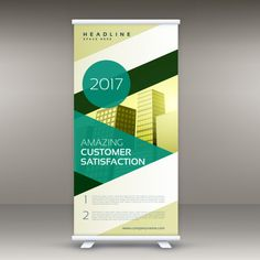Modern green roll up banner standee design vector Free Vector