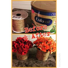 DIY flower pots made out of used Enfamil cans.