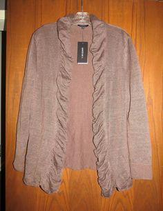 NWT Lafayette 148 $328 Cocoa Brown Linen Cotton Fine Gauge Ruffle Cardigan M  #Lafayette148NewYork #Cardigan