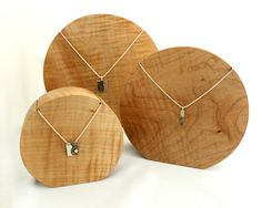Round Wooden Maple Necklace Jewellery Display by KingOfTheWoodpile