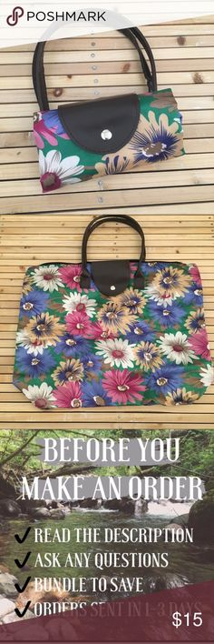 Floral Satin Tote Bag Colorful floral Roll Up bag. Rolls up and snaps for easy carry. Unravels to a large bag. Perfect for shopping. Brand new from my boutique. Boutique brand.  • No Trades • Price is firm unless bundled • 15% off of bundles of 3 or more • Francesca's Collections Bags