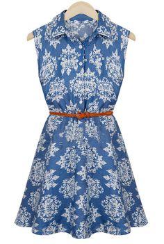 Blue Lapel Sleeveless Floral Belt Denim Dress - Sheinside.com