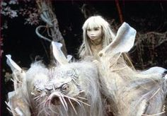 Kira on a landstrider - possibly my favorite creature from The Dark Crystal
