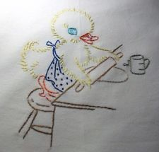 BAKING DUCKLING - NEW Hand embroidered 30 X 30 flour sack dish towel