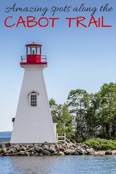 This pretty lighthouse in Baddeck in Cape Breton, Nova Scotia, Canada is just one of the great spots to stop along the famous Cabot Trail!