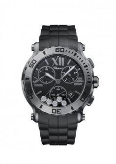 Chopard | Happy Sport Chrono Watch - DLC blackened stainless steel and diamonds | 288499-3007