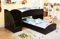 MERRITT TWIN/TWIN BUNK BED IN BLACK [CM-BK921BK-T] This contemporary bunk bed group is finished in white or black and has built in steps to the top bunk and drawers for extra storage. Sale For $899