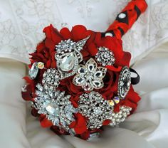 GORGEOUS red and vintage jewel bridal bouquet.