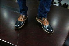Handmade Goodyear Welted Brogue Men's Shoes,Matching Color Pattern
