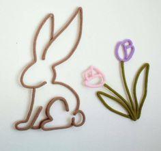 Lapin en tricotin Fleur en tricotin Tulipe en tricotin