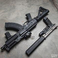 knives, guns, and tactical gear © Motaz Al Tawil Military Weapons, Weapons Guns, Guns And Ammo, Ak47, Armas Wallpaper, Armas Ninja, Custom Guns, Fire Powers, Assault Rifle