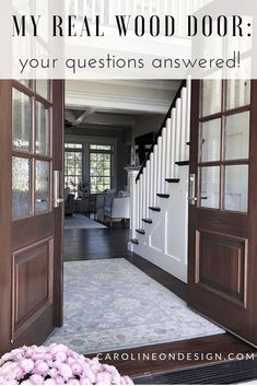 Are you considering real wood doors for your home? Here, I share my experience with arched real wood double doors. Get the pros and cons and all of your questions answered. Entry Way Design, Foyer Design, Home Building Tips, Building A House, Houston Houses, Double Front Doors, House Design Photos, Exterior Doors, Wood Doors