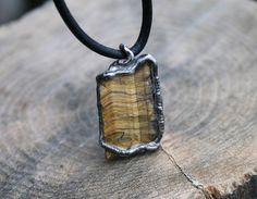 tiger eye necklace, raw pendant, gemstone pendant, male pendant, men necklace raw tiger eye, healing stone, ancient necklace, old silver tin by Blacksmithworkshop on Etsy
