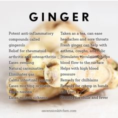 It has long been documented that Ginger is renowned for its health benefits. The following list explains more of those benefits. Definitely worth a read.