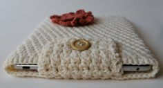 Crochet Ipad Sleeve in Creamy Magnolia with by Keepnthesunnyside, $20.00